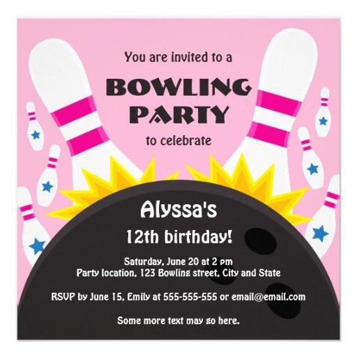 Invitation de partie de bowling avec la boule de b