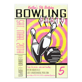 Invitation de partie de bowling - rose carton d'invitation  12,7 cm x 17,78 cm