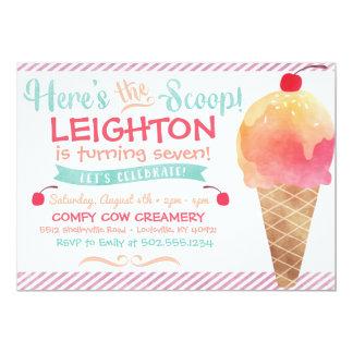Invitation de partie de crème glacée