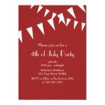 Invitation de partie de drapeaux rouges 4 juillet carton d'invitation  12,7 cm x 17,78 cm