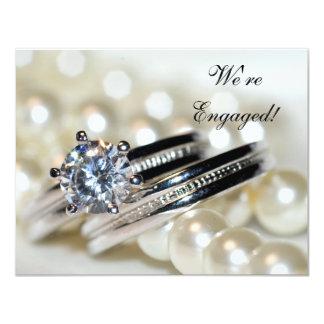 Invitation de partie de fiançailles d'anneaux et