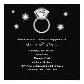 Invitation de partie de fiançailles de bague à carton d'invitation  13,33 cm