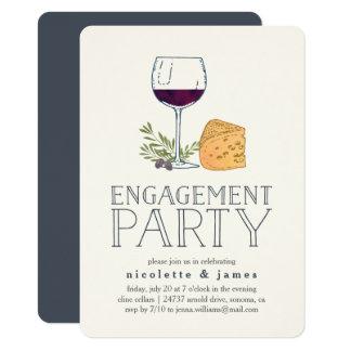 Invitation de partie de fiançailles de vin et de