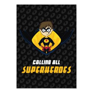 Invitation de partie de garçon de super héros