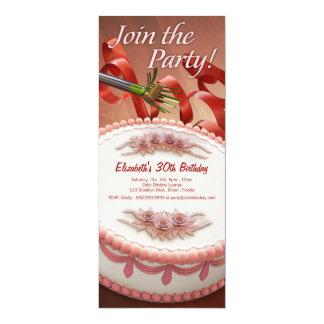 Invitation de partie de gâteau et de ruban