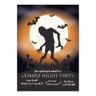 Invitation de partie de Halloween de nuit de zombi