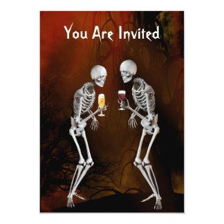 Invitation de partie de Halloween de squelettes