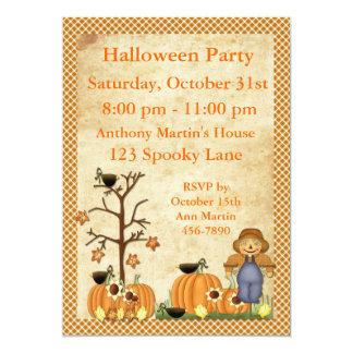 Invitation de partie de Halloween d'épouvantail