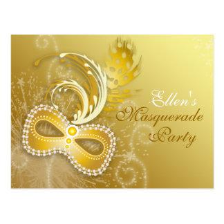 Invitation de partie de mascarade d'or cartes postales