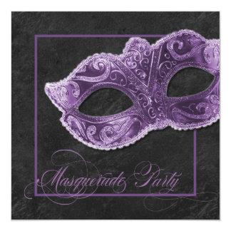 Invitation de partie de mascarade - violette et
