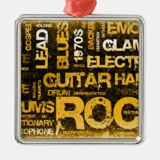 Invitation de partie de musique rock comme art ornement carré argenté