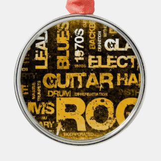 Invitation de partie de musique rock comme art ornement rond argenté