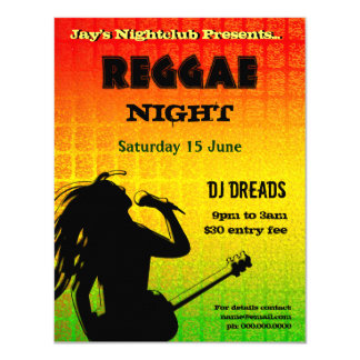 Invitation de partie de nuit de reggae carton d'invitation 10,79 cm x 13,97 cm