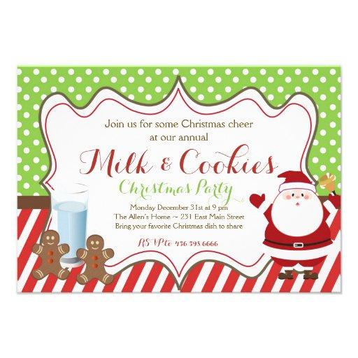 Invitation de partie de Père Noël Chrismas de lait
