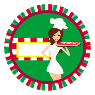 Invitation de partie de pizza carton d'invitation  13,33 cm