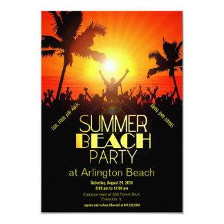 invitation de partie de plage d'été de coucher du