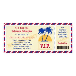 Invitation de partie de retraite de billet de VIP Carton D'invitation 10,16 Cm X 23,49 Cm
