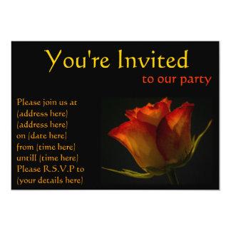 Invitation de partie de rose orange et jaune