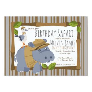 Invitation de partie de safari d'hippopotame