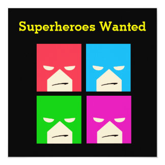 Invitation de partie de super héros de garçons carton d'invitation  13,33 cm