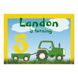 Invitation de partie de tracteur : Âge dans le Carton D'invitation 12,7 Cm X 17,78 Cm