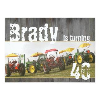 Invitation de partie de tracteur : Bois et Carton D'invitation 12,7 Cm X 17,78 Cm