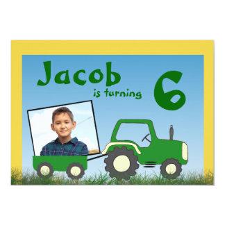 Invitation de partie de tracteur : Photo dans le Carton D'invitation 12,7 Cm X 17,78 Cm