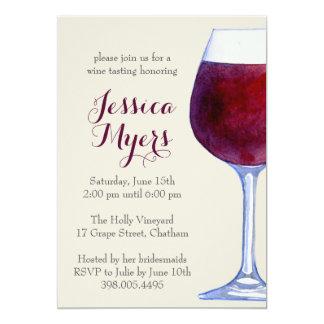 Invitation de partie de vin rouge d'aquarelle