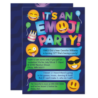 Invitation de partie d'Emoji d'amusement