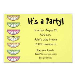 Invitation de partie d'été de chaux de citron