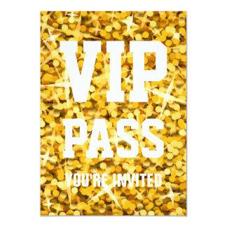 "Invitation de ""PASSAGE de VIP"" de ""or"" de Carton D'invitation 12,7 Cm X 17,78 Cm"