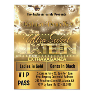 Invitation de passage du sweet sixteen VIP de