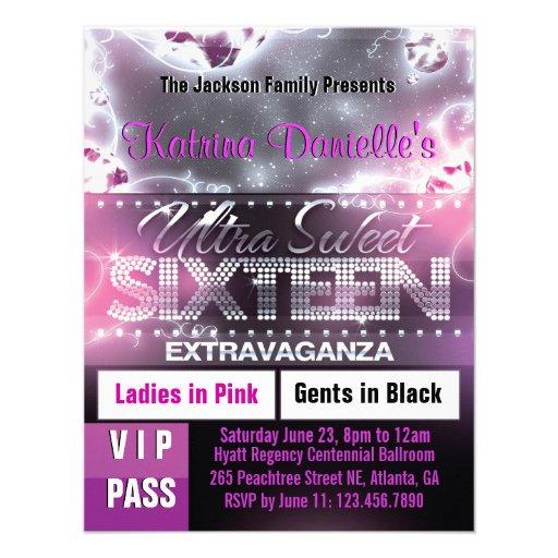 Invitation de passage du sweet sixteen VIP de lueu
