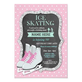 Invitation de patin de rose de fête d'anniversaire