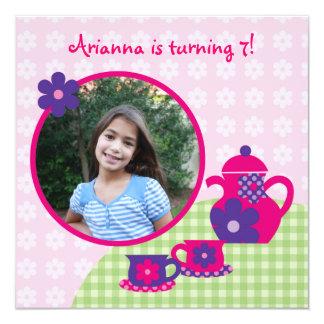 Invitation de photo d'anniversaire de thé