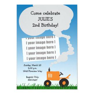 Invitation de photo de tracteur : Tracteur orange Carton D'invitation 12,7 Cm X 17,78 Cm