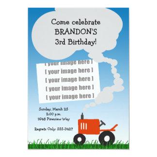 Invitation de photo de tracteur : Tracteur rouge Carton D'invitation 12,7 Cm X 17,78 Cm