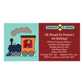 Invitation de photo de train d'anniversaire - roug photocarte