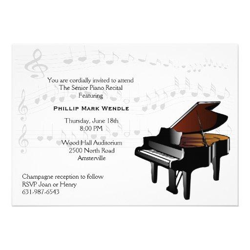 Invitation de piano de piano quart de queue