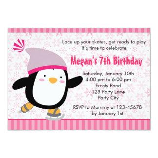 Invitation de pingouin - anniversaire de filles