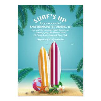 Invitation de planches de surf de partie de plage