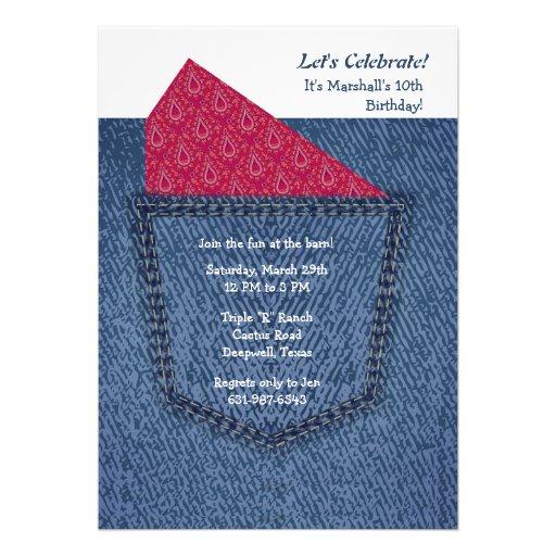 Invitation de poche de jeans