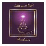 Invitation de pourpre d'Arbre de Noël Abstrait Carton D'invitation 13,33 Cm