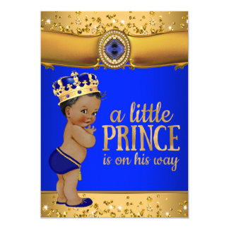 Invitation de prince baby shower d'or de bleu