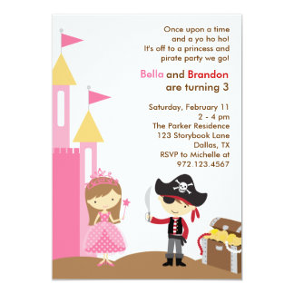 Invitation de princesse et de pirate