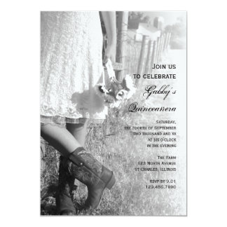 Invitation de Quinceañera de pays de cow-girl et