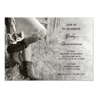 Invitation de Quinceañera de pays de cow-girl et