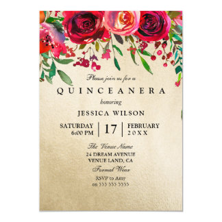 Invitation de Quinceanera de rose rose et rouge de