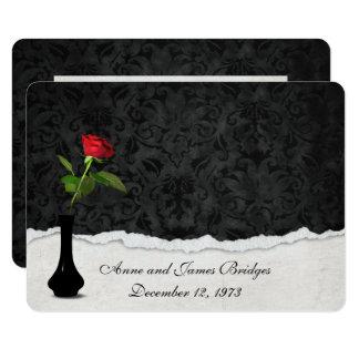 Invitation de renouvellement de voeu de rose rouge