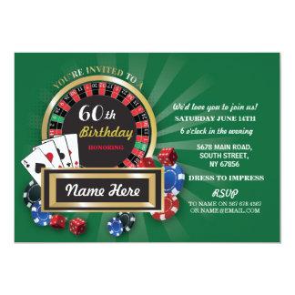 Invitation de roulette de Las Vegas d'anniversaire